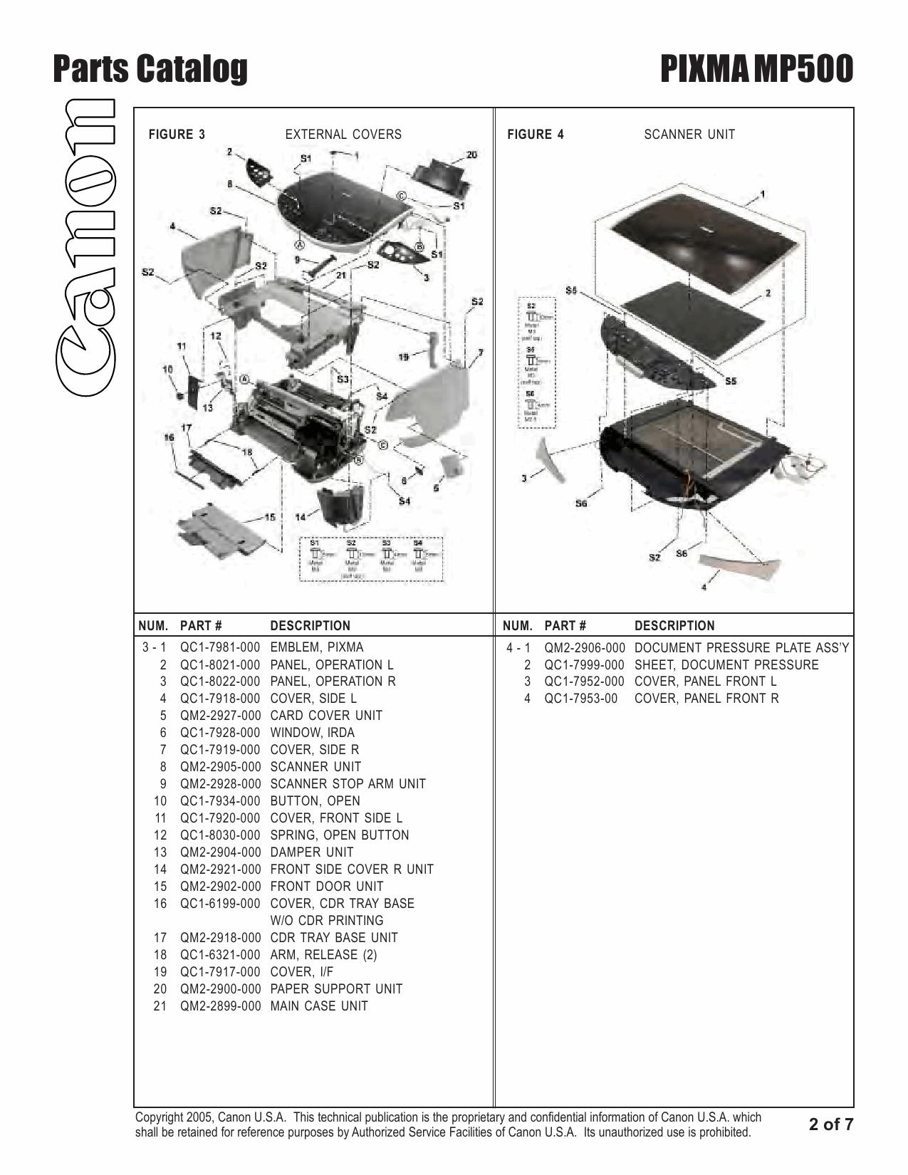 Canon PIXMA MP500 Parts Catalog Manual-3